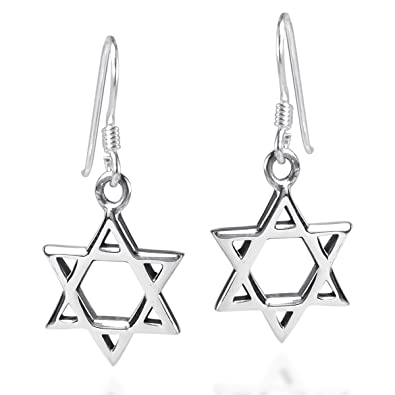 2998c35cc Amazon.com: Mystical Star of David .925 Sterling Silver Fish Hook Earrings:  Jewelry