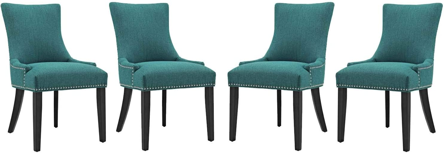 Modway Marquis Modern Upholstered Fabric Parsons Four Kitchen and Dining Room Chairs with Nailhead Trim in Teal