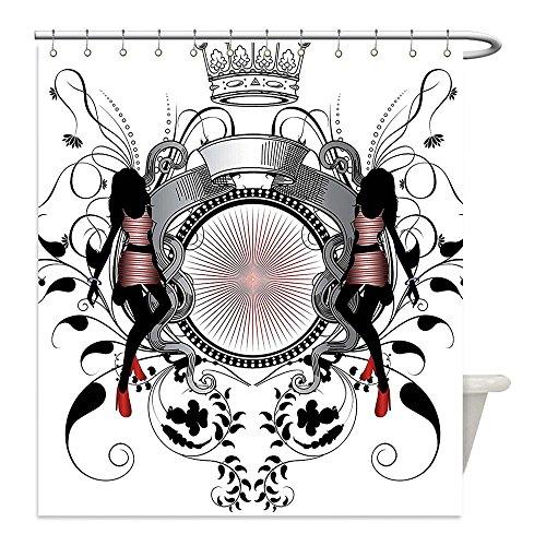 Diy Crown Royal Costume (Liguo88 Custom Waterproof Bathroom Shower Curtain Polyester Modern Decor Crown Royal Kingdom Logo Like Imgae with Two Girls Art Dust Black and Light Pink Decorative bathroom)