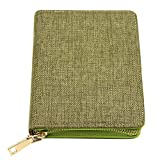 Zipper Personal Organizer Notebook,Aimeio Linen Cover Travel Journal Planner with Basic Grid Writing Pad,Card Holder and Pen Slot for Office School Supplies,Compact Size,4.33x6.10in