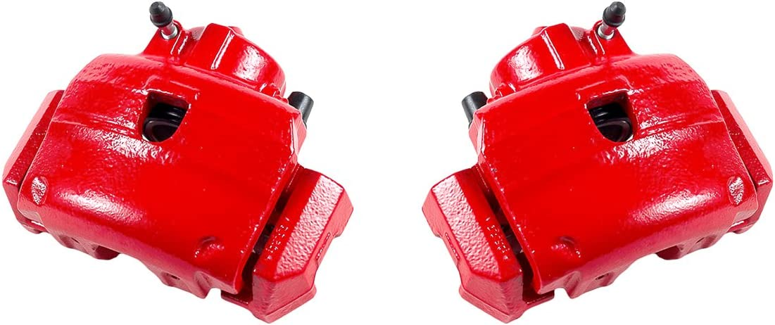 CCK12363 FRONT 2 Performance Grade Red Powder Coated Semi-Loaded Remanufactured Caliper Assembly Pair Set