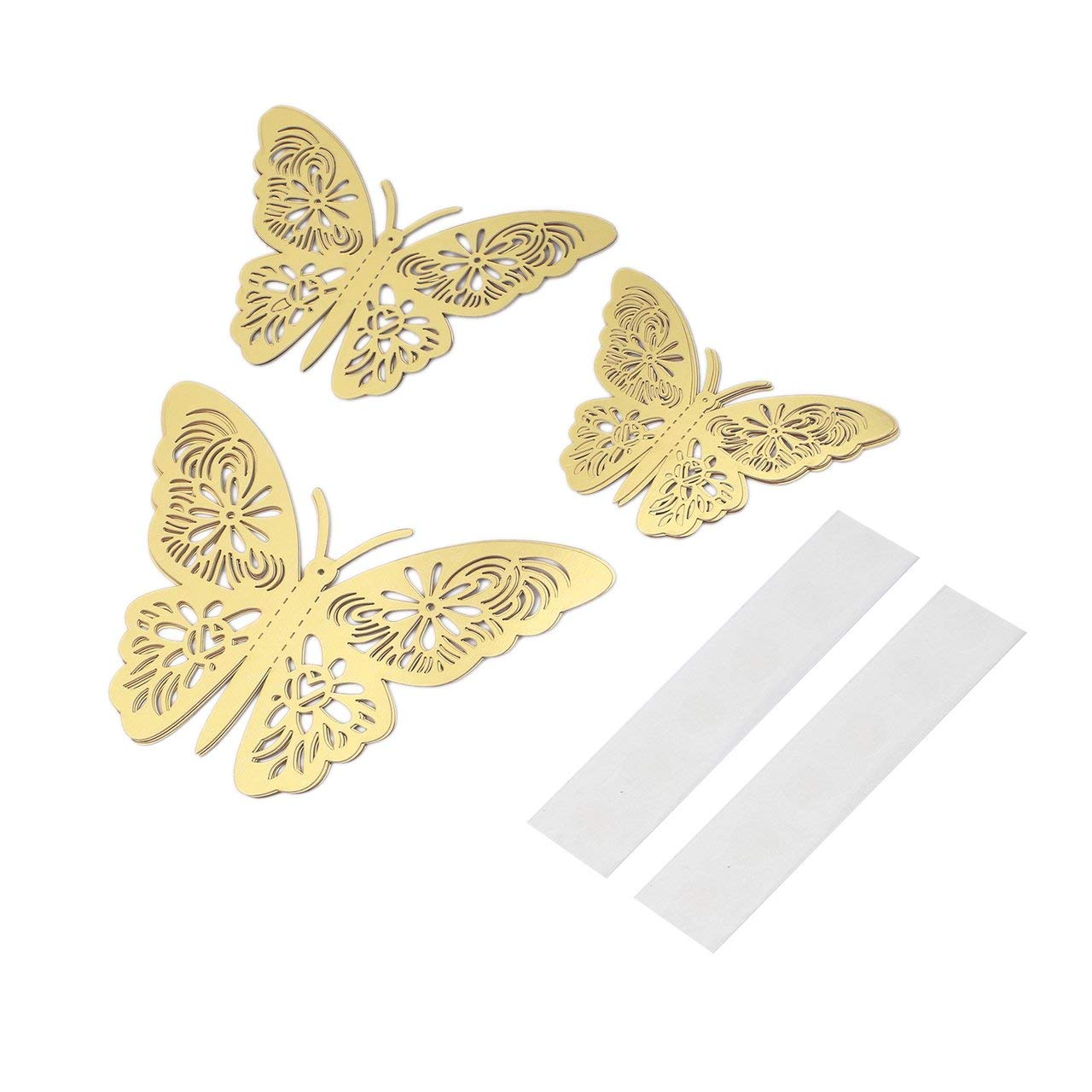 Romirofs 12pcs G 005 Metallic Sense 3D Butterfly Stickers Hollow DIY Home Decal Kids Rooms Wall Decor Party Wedding Decoration