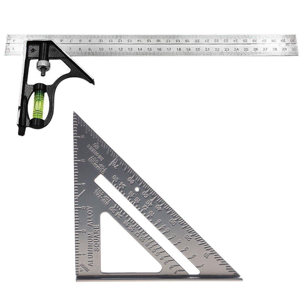 Homyl 300mm 12'' Adjustable Combination Set And 7'' Aluminum Triangle Ruler Square