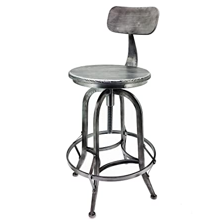 Modernhome Set of 4 Arthur Retro Steel Rotating Adjustable Height Barstool – Vintage Pewter