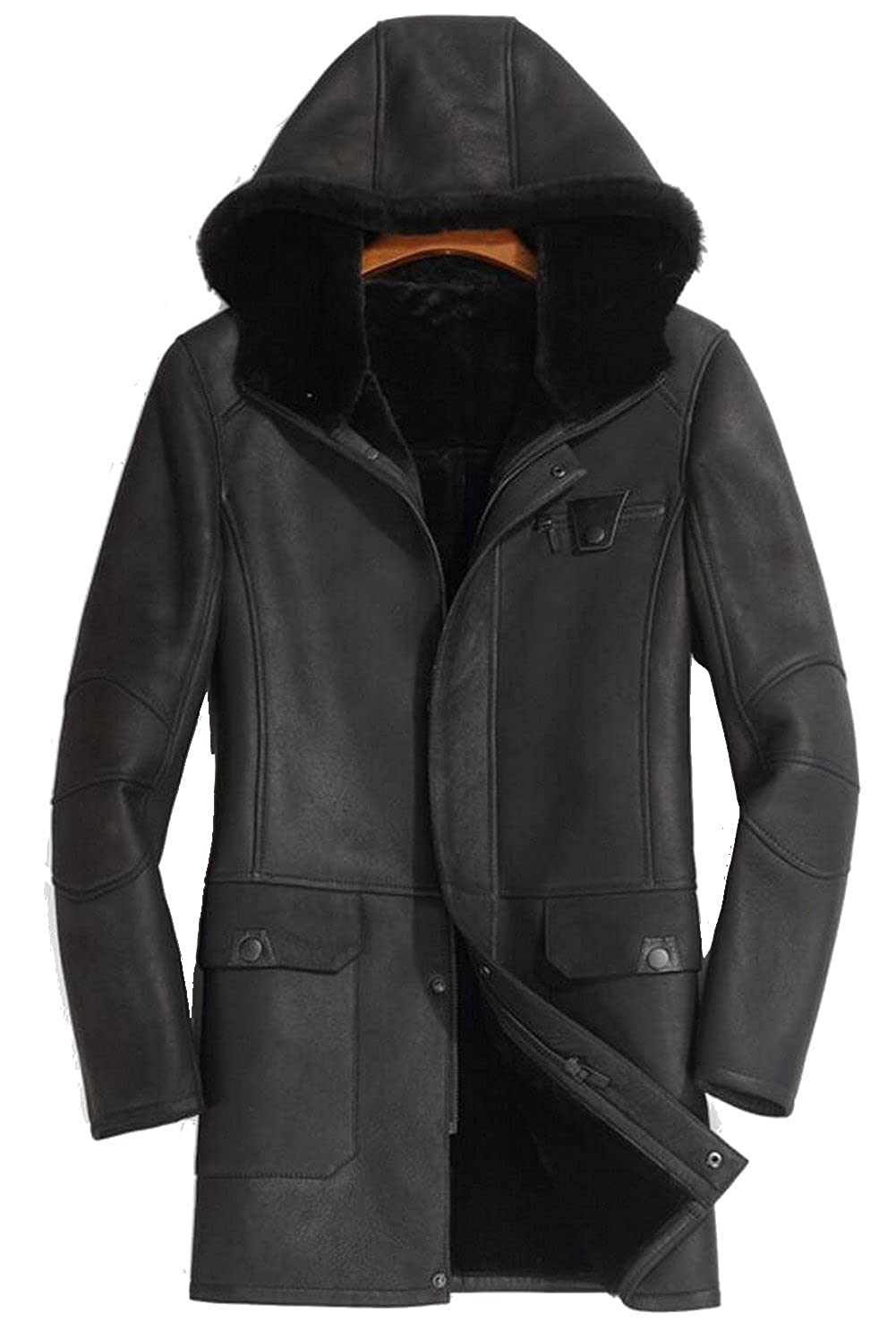 JIAX Mens Winter Thick Coat PU Leather Faux Suede Jacket Lamb Wool Lining Parke