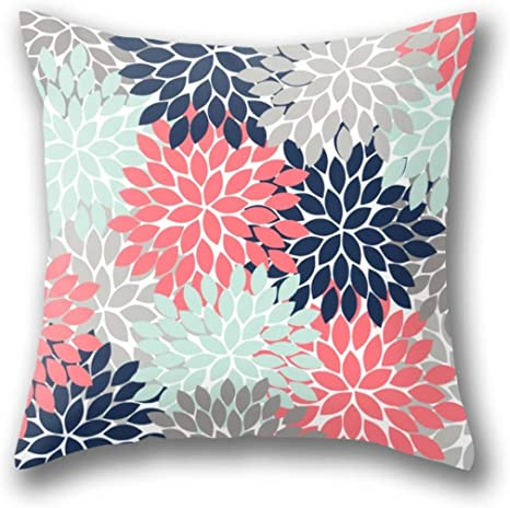 Amazon Com Gardear Flower Burst Petals Floral Pattern Navy Coral Mint Gray Pillow Cover Standard Throw Pillowcase 18x18 Inch Home Kitchen