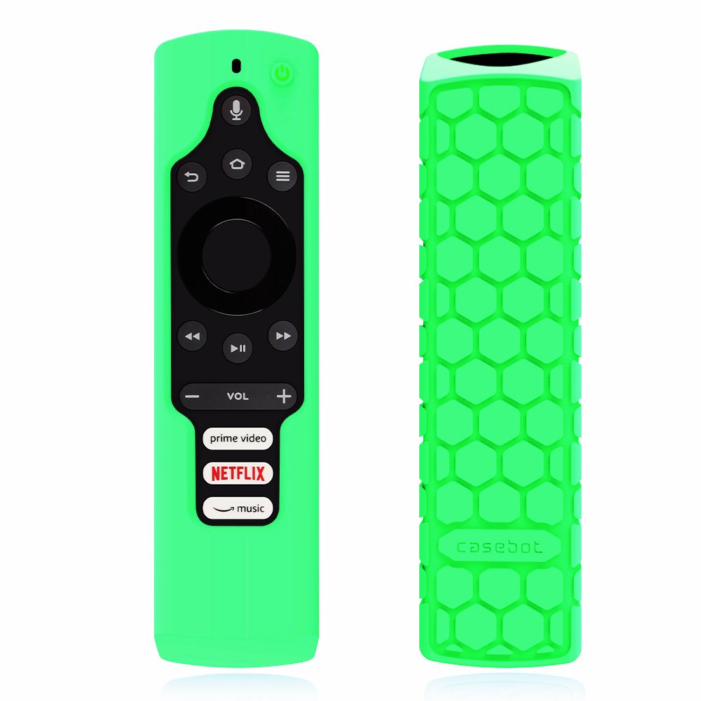 Fintie Silicone Case for Fire TV Edition Remote - Honey Comb Series [Anti Slip] Shock Proof Cover for Amazon All-New Element Smart TV Voice Remote, Green-Glow in the Dark by Fintie