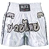 BLITZ KICKBOXING THAI FIGHT SHORTS KIDS BOYS GIRLS WHITE SIZE 130 CM 7 - 8 YEARS