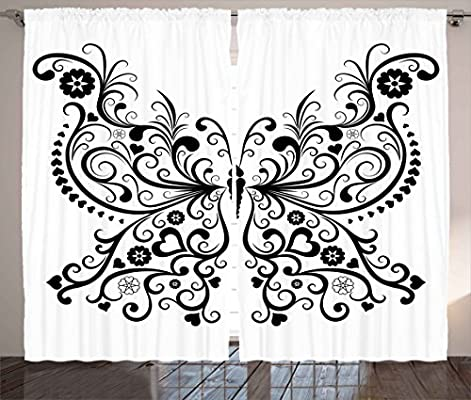 amazon ambesonne animal decor curtains madam butterfly swirled Wide Quilt Backing Fabric madam butterfly swirled wings with flower spiritual nature image nature print living room bedroom window drapes 2 panel set 108 w x 63 l inches