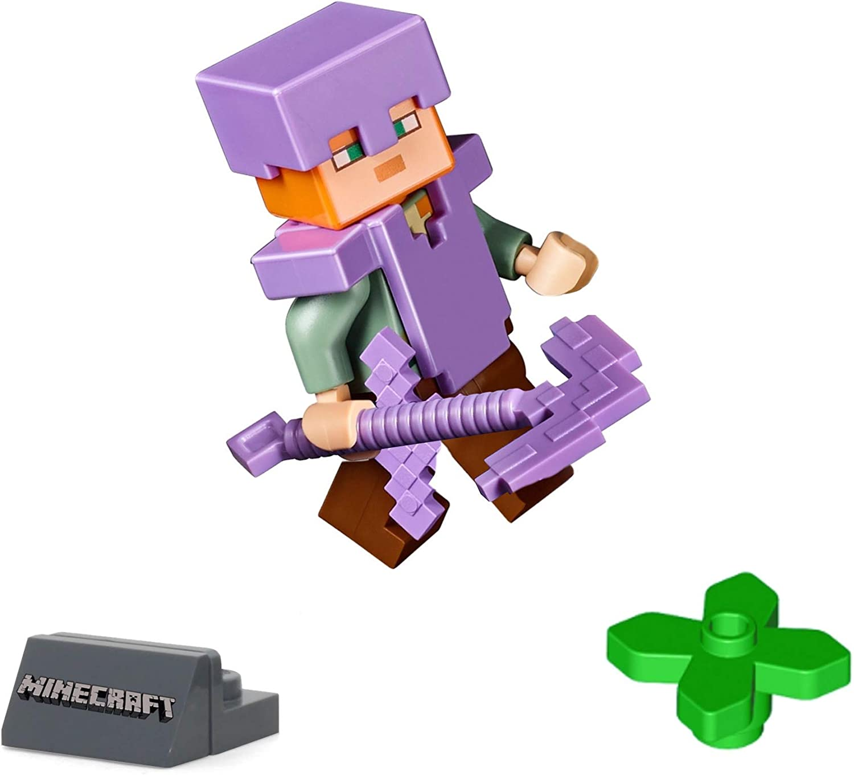 LEGO Alex Minifigure Flat Silver Armor Minecraft 21139 21147 with Sword NEW