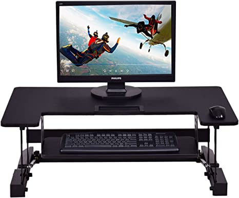 Black Adjustable Height Stand Up Desk Computer Workstation Lift Rising Laptop