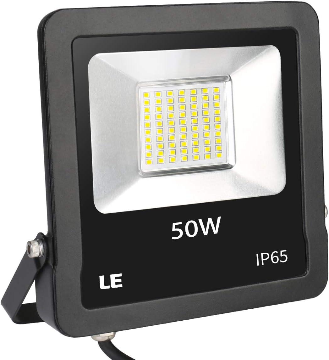 LE Foco LED de 50 W, 4000 lúmenes, IP65 resistente al agua, 5000 ...