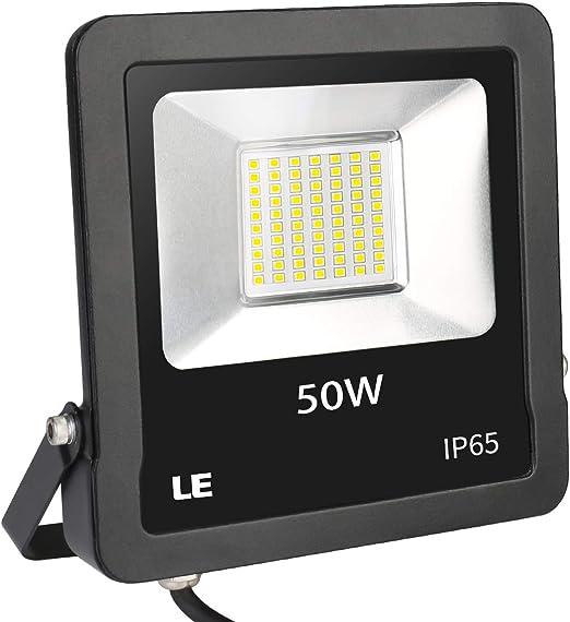 LE Foco LED de 50 W, 4000 lúmenes, IP65 resistente al agua, 5000 Kelvin, luz blanca fría, adecuado para jardín, garaje, hotel, patio, etc.: Amazon.es: Jardín