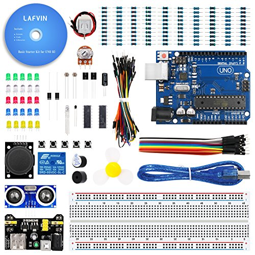 LAFVIN The Basic Starter kit for Arduino with UNO R3, Breadboard, LED, Resistor,Jumper Wires and Power (Basic Starter Kit)