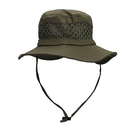 b12ff6ba Summer Men Foldable Mesh Bucket Sun hat UPF 50+ Wide Brim with Buckle,  Flexible