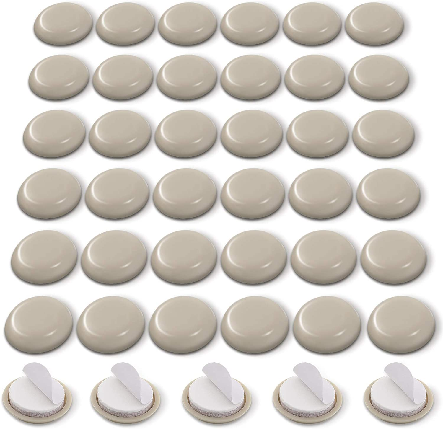 36 Pieces Adhesive Furniture Glides Sliders 1-3/4 Inch Self-Stick Furniture Chair Sliders Round Furniture Moving Pads Furniture Movers for Carpet