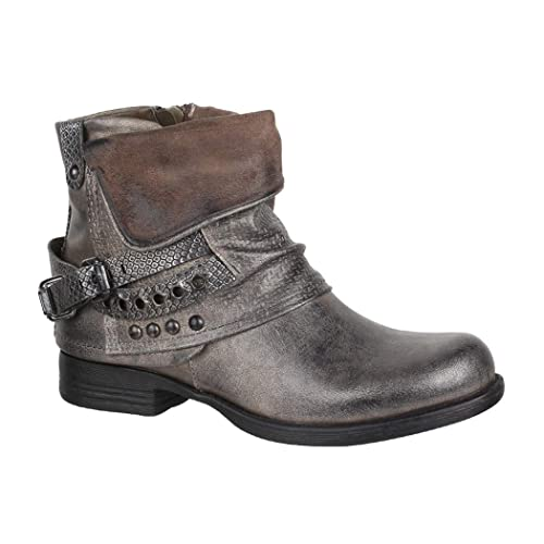 Elara Mujer Biker Boots   Metallic Prints Hebillas   Aspecto de Piel Remaches Botines   Forrado: Amazon.es: Zapatos y complementos