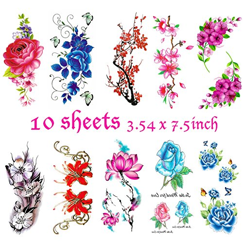 Tattoo Cherry (Flower Temporary Tattoos for Women & Teens Girls - Classical Temporary Tattoos Design – Colorful Lotus Cherry Blossoms Flash Flash Fake Waterproof Tattoo Stickers of PLRB (10 Sheets))