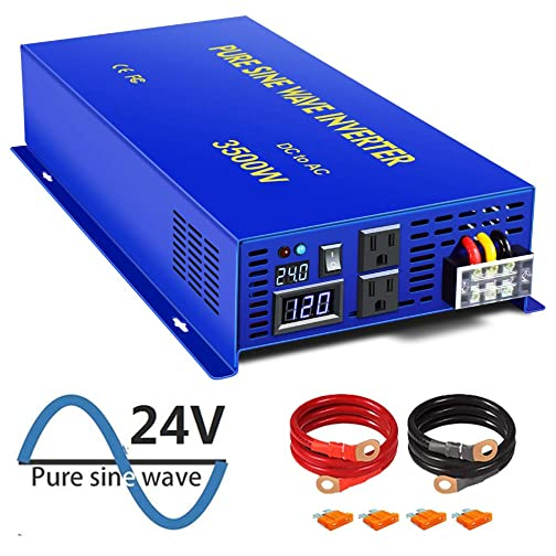 XYZ INVT Pure Sine Wave Power Inverter 3500W 7000W Peak Car Caravan RV Camping Boat DC 12V Inverter Soft Start 24V DC to AC 110V 120V DC Inverter Converter with LCD Display