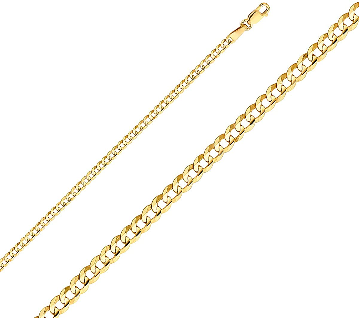 TGDJ 14k Yellow OR White Gold Solid 2.5mm Cuban Curb Chain Necklace with Lobster Claw Clasp