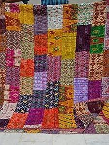 "COR's King Size Patola Silk Patch Work Kantha Quilt , Kantha Blanket Bedspread, Patch Kantha Throw, King Kantha, Kantha Rallies Indian Sari Quilt, Size 90"" X 108"" by Colors Of Rajasthan"