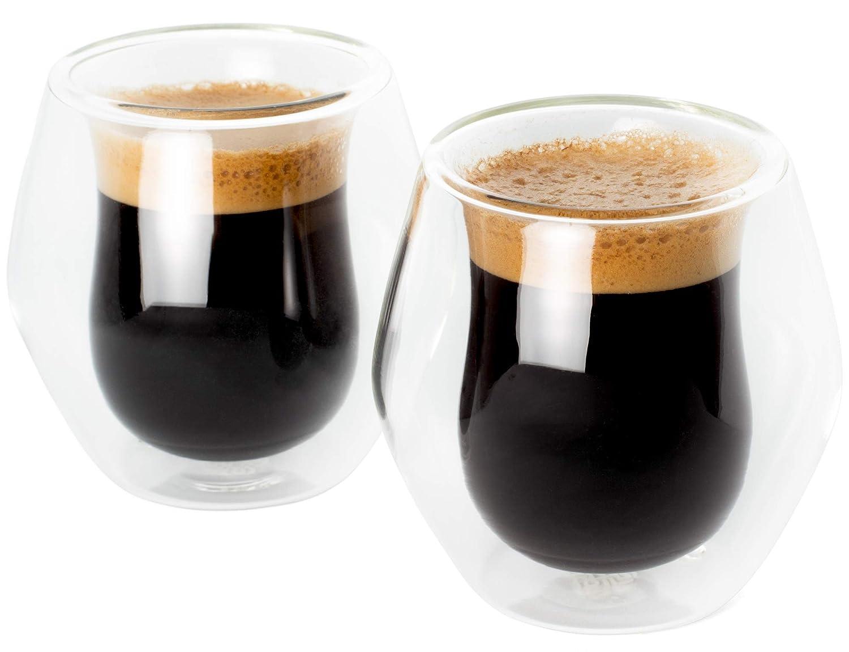Espresso glass cups, Double shot size 2oz/75ml, Set of 2, Double wall insulated, Gift boxed, Clear cups for double espresso, latte, demitasse, macchiato, piccolo, lungo, italian, small coffee or tea