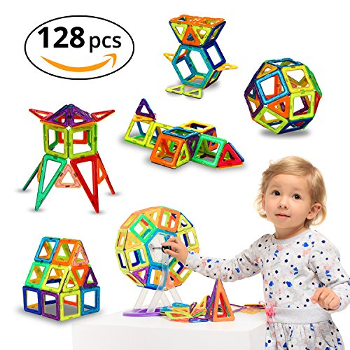 Magnetic Blocks - 128 pcs Large Set & Storage Box - 3D Building Educational Toys for Boys and Girls - Great for 3+ Years Old Toddlers and Kids - Tiles with Innovative Build Magnets - Great Gift! (Build A Gift)