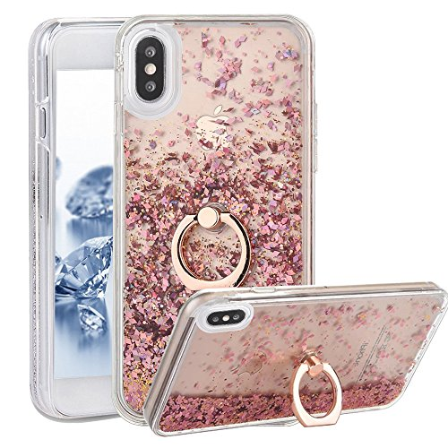 iPhone X Case With Ring Liquid - USAcases Finger Ring Stand Holder Kickstand Moving Quicksand Slim Fit Crystal Clear Floating Luxury Glitter Sparkle Diamond for iPhone X (Diamond Pink)