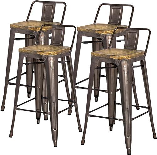 New Pacific Direct Metropolis Metal Low Back Bar Stool 30 Wood Seat,Gunmetal Gray,Set of 4