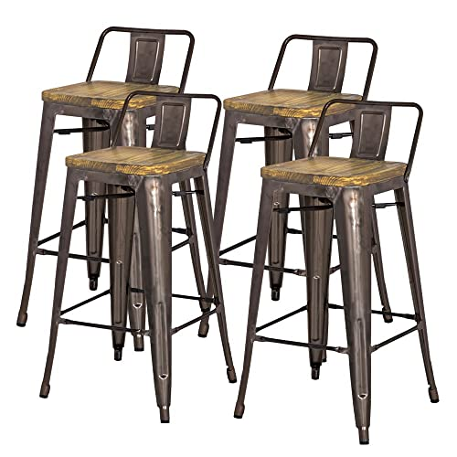 "New Pacific Direct Metropolis Metal Low Back Bar Stool 30"" Wood Seat,Gunmetal Gray,Set of 4"