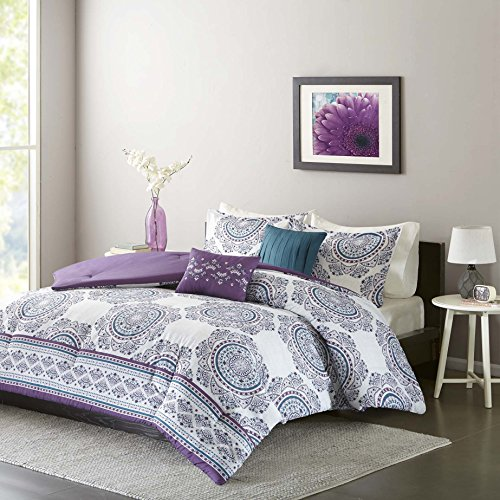 Comforter Sets For Teen Girls Full Queen Twin Bedding Kids Teal Purple Medallion Perfect for Home Bedrooms or Dorm Rooms; Bundle Includes Exclusive Sleep Mask From Designer Home (Twin/Twin XL)