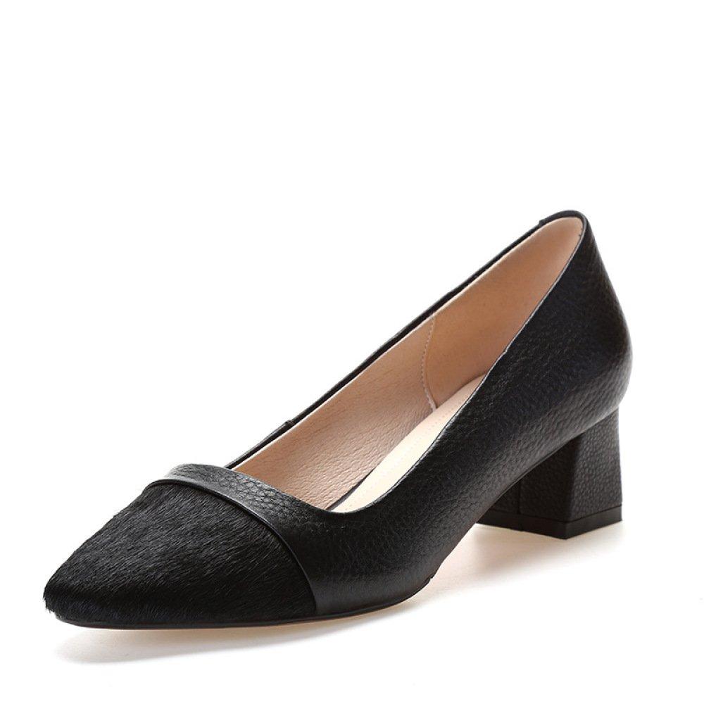 DKFJKI DKFJKI DKFJKI Damenmode Schuhe High Heel Damenschuhe Pumps Dicke Fersen Mittlerer Absatz Leder 808eb7