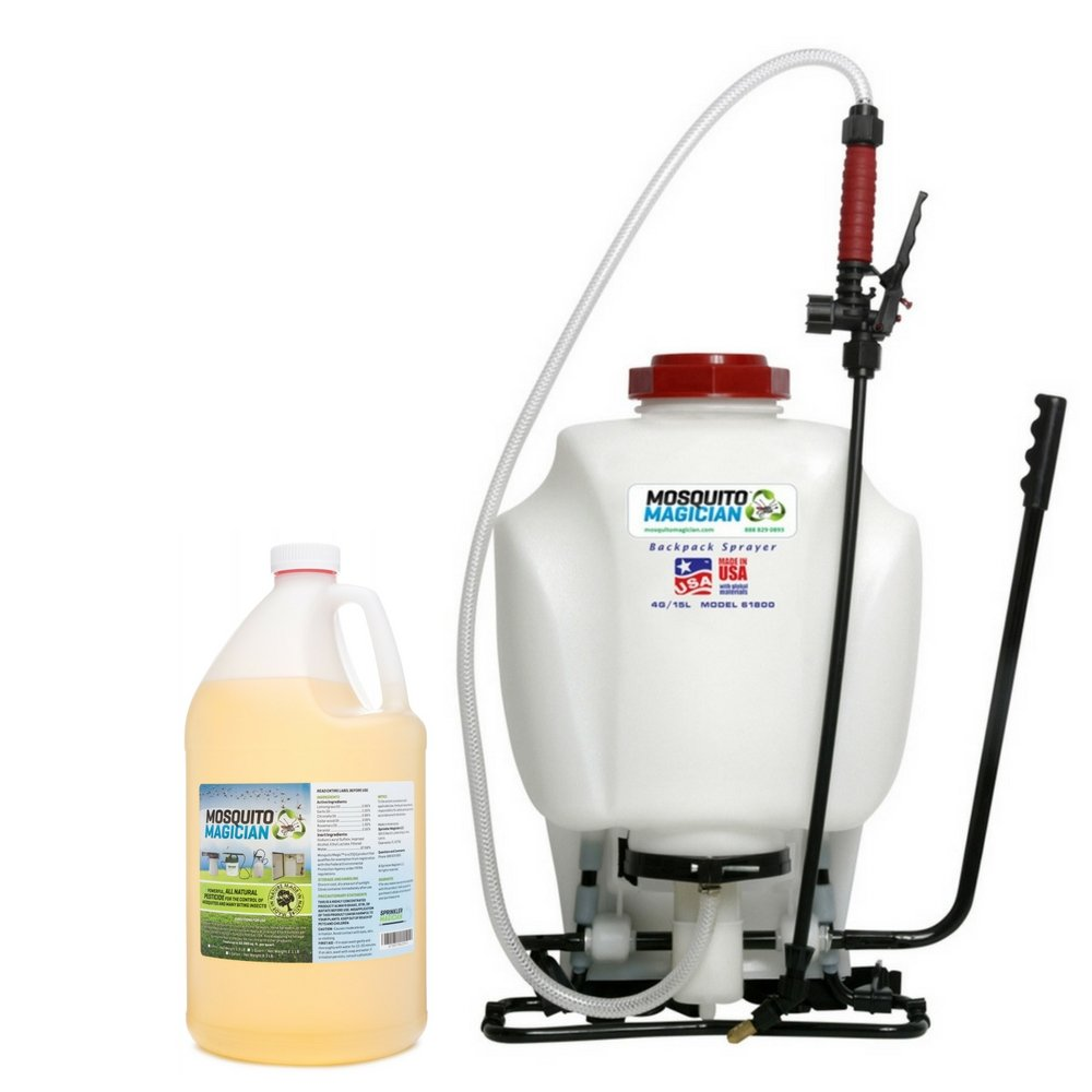 Mosquito Magician Pump Up Backpack Sprayer with 1 Gallon Natural Mosquito Killer & Repellent Concentrate