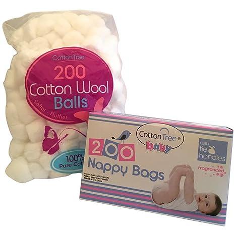 Multipack 200 desechables fragancia bebé pañales Bolsas Plus 200 absorbente algodón bolas de lana por kerhoot