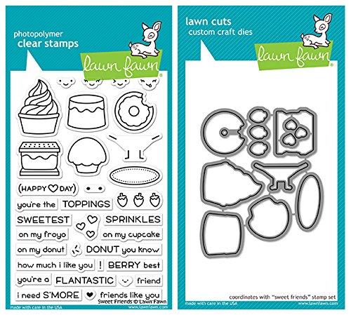Lawn Fawn - Sweet Friends - Stamp and Die Set - 2 Item (Sweet Fawn)