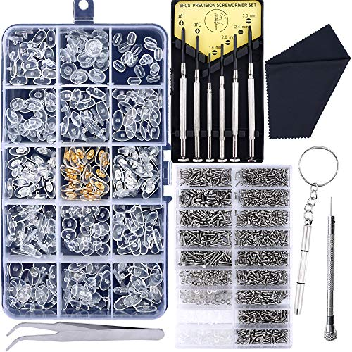 Upgrade Version Eyeglass Repair Kit,1500 Pcs More Complete Glasses Screws Kit and Nose Pads with 6 Pcs Screwdrivers and 3 Pcs Tools for Glasses, Eyeglasses and Sunglasses Repair ()