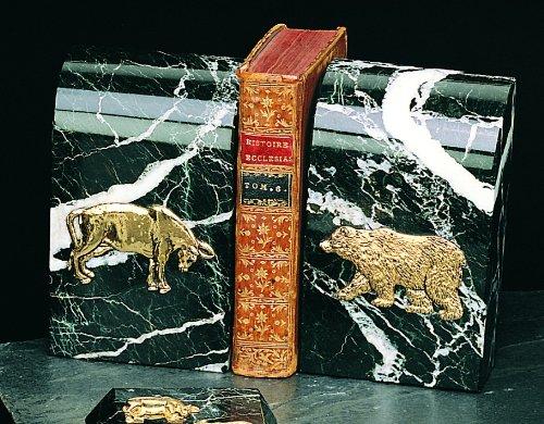 Marble Stock Market Books Ends - Stock Market Bull & (Black Marble Stock Market)