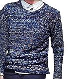 Shining4U Fashion Men Fashion Long Sleeve Crew Neck Print Casual Cable Pullover Sweater BlueUS Large