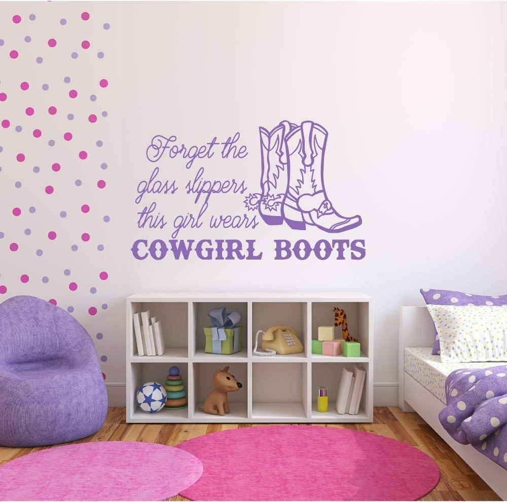 CustomVinylDecor Cowgirl Boots Decal - Sassy Vinyl Wall Art for Western Girls, Teenagers, or Women - Home Decor for Bedroom, Playroom, Nursery, or Office - Available in Pink, Purple, Other Colors