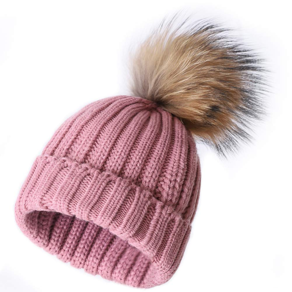 Light Pink Roniky Winter Knit Hat Real Fox Raccoon Fur Pom Pom Womens Girls Knit Beanie Hat