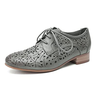 df887adcd7 Mona flying Womens Leather Perforated Lace-up Saddle Oxfords Brogue Wingtip  Derby Shoes Grey