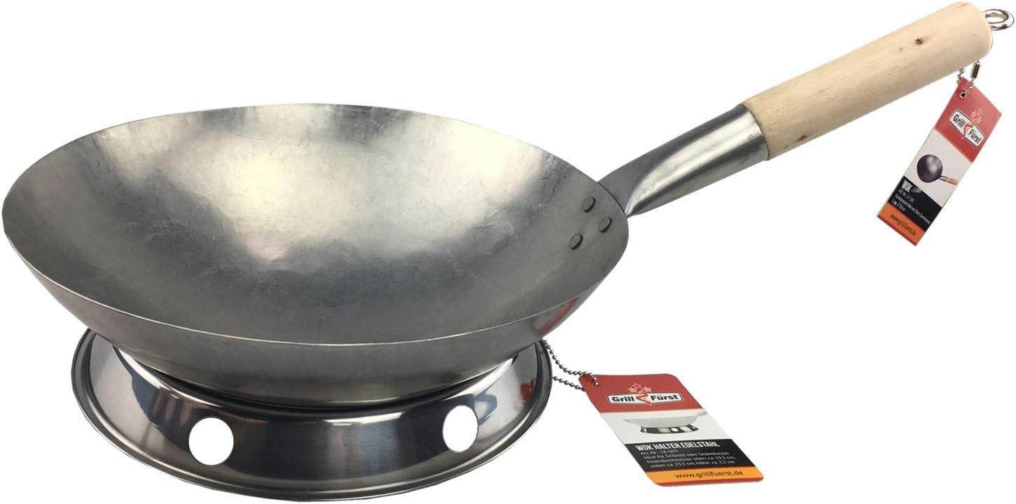 Wokpfanne mit Handgriffe BBQ Wok aus Edelstahl zum Grillen Grill Zubeh/ör Durchmesser 28 cm