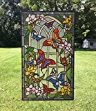 20'' x 34'' Large Tiffany Style stained glass window panel Butterfly Garden