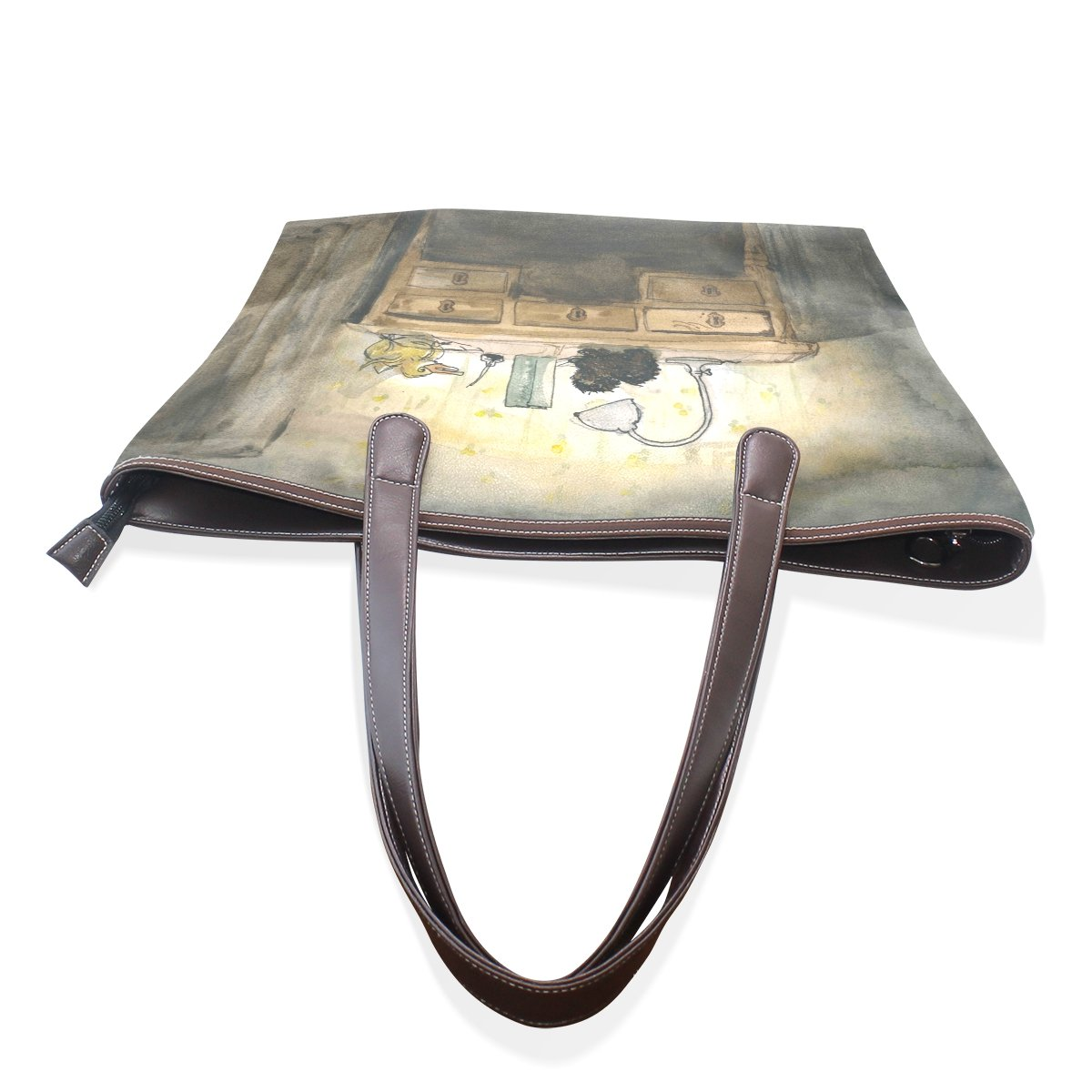 Ye Store Silent Night Lady PU Leather Handbag Tote Bag Shoulder Bag Shopping Bag
