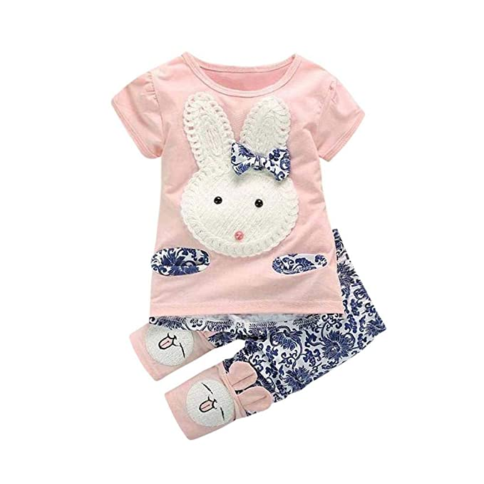 5b6fe9da465 Amazon.com  Rabbit Outfits Toddler Kids Little Girls Cute Cartoon Bunny Bow  Applique T-Shirt Tops+Floral Pants Navy  Clothing