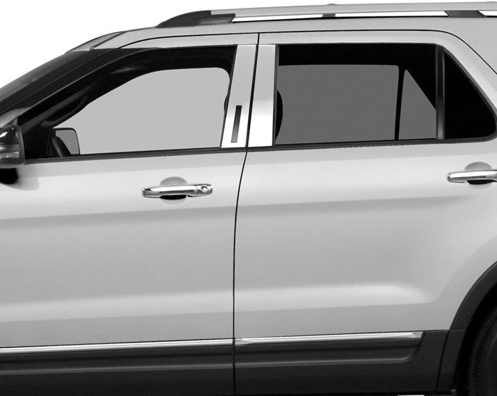 Auto Reflections 4pc Pillar Post Covers w//Keypad Cutout for 2011-2018 Ford Explorer