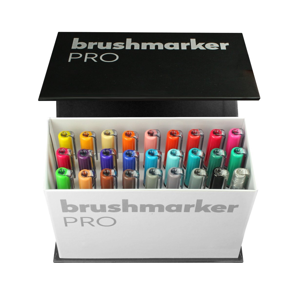 Karin Mini Box Pro 26 Piece + 1 Blender Transparent Body with Ink Free System Brush Marker Pro Brush, 2 4 ml Liquid Colour: No Felt-Tip Pen Marker