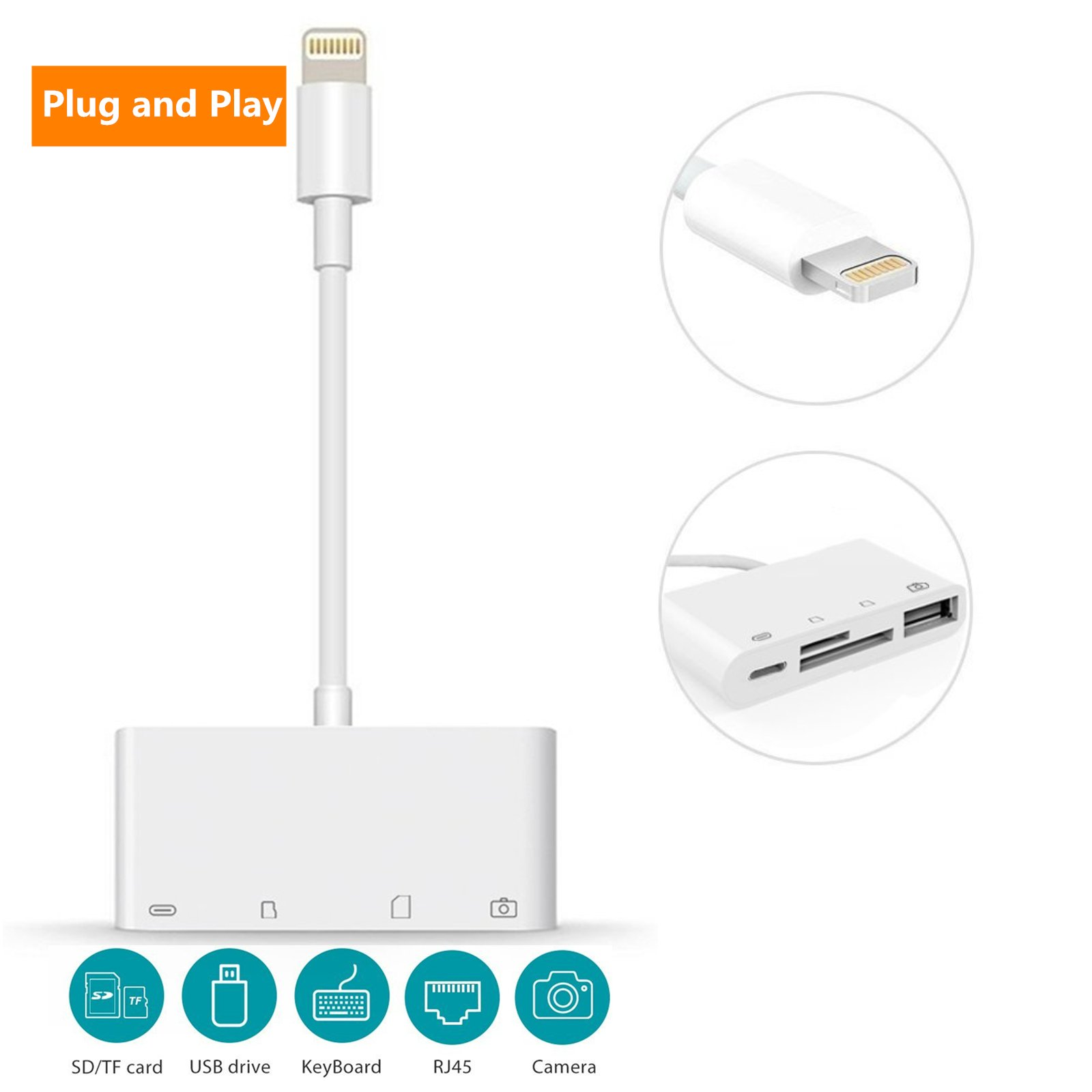 SD Card Reader, Digital Camera Reader Adapter Cable, Lightning to USB Camera Adapter, SD/TF Card Reader, Trail Game Camera Viewer for iPhone/iPad, No App Required, Plug and Play (A) by Queenwing (Image #1)