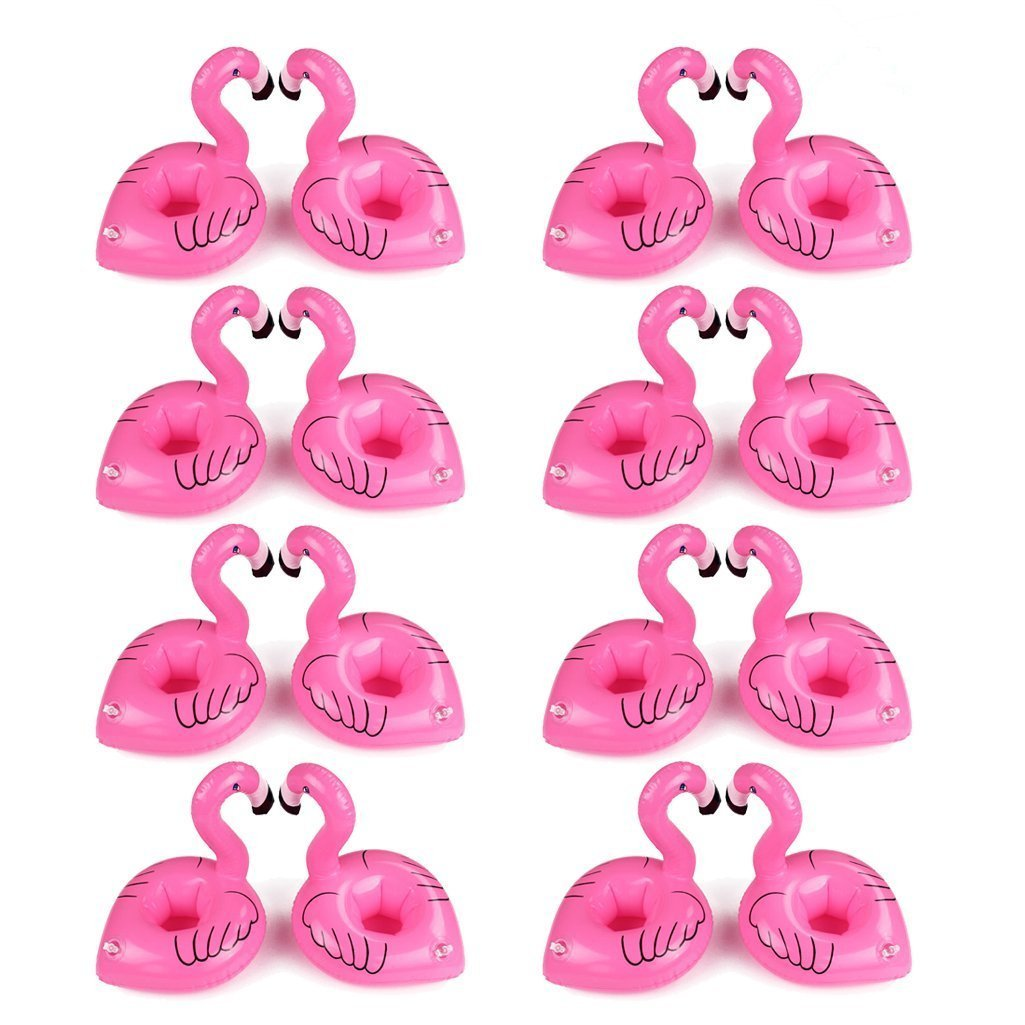 Unicorn Float Flamingo Drink Holders Donut Fruit Inflatable Pool Cup Holders, Inflatable Drink Float Boats Pool Floats Inflatable Floating Coasters for Pool Party Water Fun (16 Pack Flamingo) Legends_chan