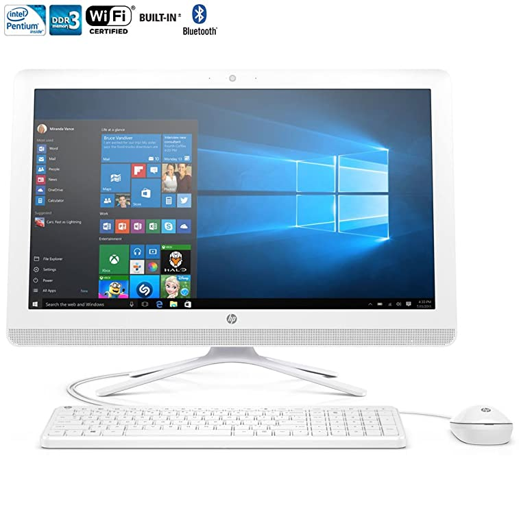 "HP All-in-One 21.5"" Full HD IPS High Performance Desktop PC, Intel Pentium Quad-Core Processor 4GB RAM 1TB 7200RPM HDD DVD+/-RW WIFI Bluetooth HDMI USB 3.0 Windows 10, Silver"